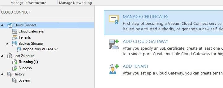 VEEAM Cloud Connect - Connexion Tenant & SP 10a