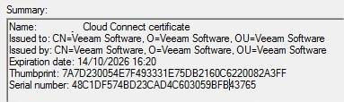 VEEAM Cloud Connect - Connexion Tenant & SP 12